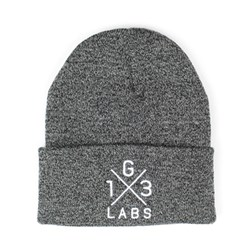 G13 Labs Cross Design Embroidery Cuff Beanie Antique Grey