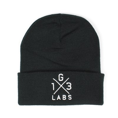 G13 Labs Cross Design Embroidery Cuff Beanie Black