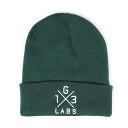 G13 Labs Cross Design Embroidery Cuff Beanie Bottle Green