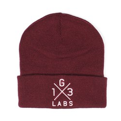 G13 Labs Cross Design Embroidery Cuff Beanie Burgundy