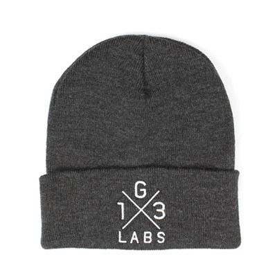 G13 Labs Cross Design Embroidery Cuff Beanie Charcoal
