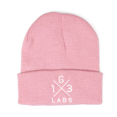 G13 Labs Cross Design Embroidery Cuff Beanie Dusky Pink