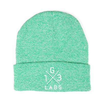 G13 Labs Cross Design Embroidery Cuff Beanie Heather Green