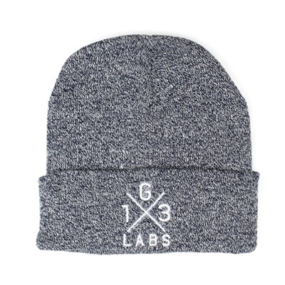 G13 Labs Cross Design Embroidery Cuff Beanie Heather Navy