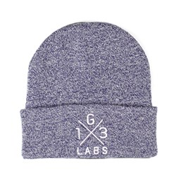 G13 Labs Cross Design Embroidery Cuff Beanie Heather Purple