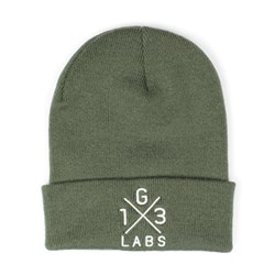 G13 Labs Cross Design Embroidery Cuff Beanie Olive