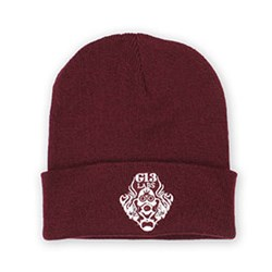 G13 Labs Gas Mask Logo Embroidery Cuff Beanie Burgundy