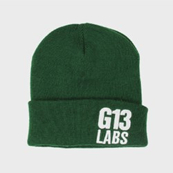 G13 Labs Side Trademark Embroidery Cuff Beanie Bottle Green