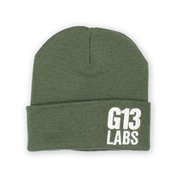 G13 Labs Side Trademark Embroidery Cuff Beanie Olive