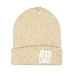 G13 Labs Side Trademark Embroidery Cuff Beanie Sand