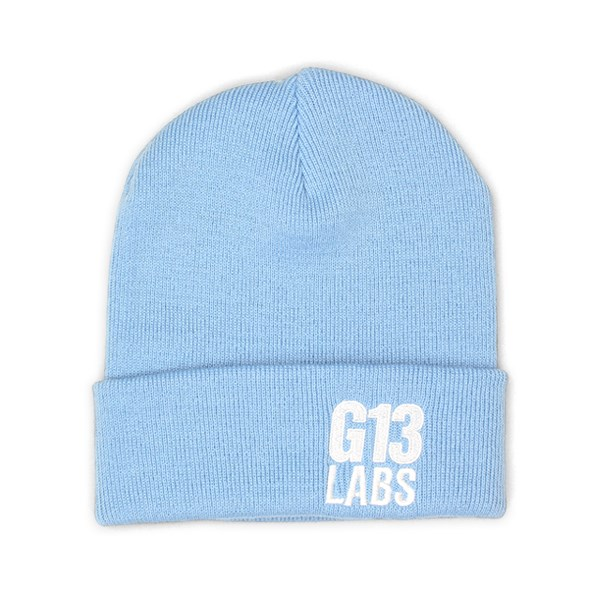 G13 Labs Side Trademark Embroidery Cuff Beanie Sky Blue